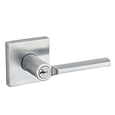 Lisbon Keyed Entry Door Levers, Satin Chrome 156LSL SQT 26D SMT | Kwikset Door Hardware