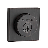 Halifax Square Single Cylinder Deadbolt Deadbolts, Venetian Bronze 158 SQT 11P SMT | Kwikset Door Hardware
