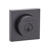 Halifax Square Single Cylinder Deadbolt Single Cylinder Deadbolts, Iron Black 158 SQT 514 SMT | Kwikset Door Hardware