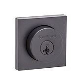 Halifax Square Double Cylinder Deadbolt Double Cylinder Deadbolts, Iron Black 159 SQT 514 SMT | Kwikset Door Hardware