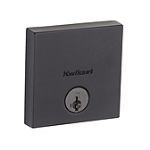 Downtown Low Profile Square Contemporary Deadbolt Single Cylinder Deadbolts, Iron Black 258 SQT 514 SMT | Kwikset Door Hardware