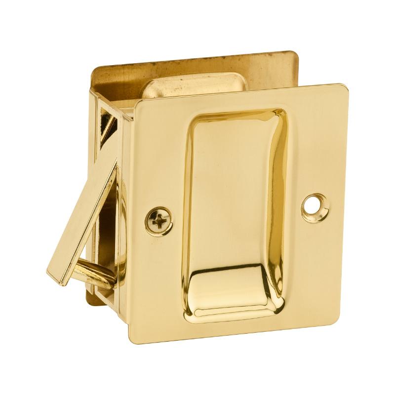 Notch Pocket Door Lock , Polished Brass 332 3 | Kwikset Door Hardware