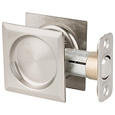 Square Pocket Door Lock  , Satin Nickel 334 15 SQT | Kwikset Door Hardware
