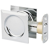 Square Pocket Door Lock  , Polished Chrome 334 26 SQT | Kwikset Door Hardware
