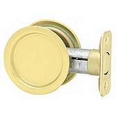 Round Pocket Door Lock  , Polished Brass 334 3 | Kwikset Door Hardware