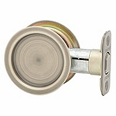 Round Pocket Door Lock  , Antique Brass 334 5 | Kwikset Door Hardware