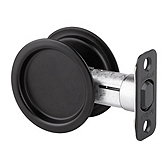 Round Pocket Door Lock , Iron Black 334 514 | Kwikset Door Hardware