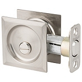 Square Pocket Door Lock  , Satin Nickel 335 15 SQT | Kwikset Door Hardware