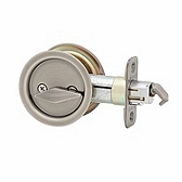 Round Pocket Door Lock , Antique Nickel 335 15A | Kwikset Door Hardware
