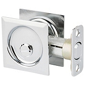 Square Pocket Door Lock  , Polished Chrome 335 26 SQT | Kwikset Door Hardware