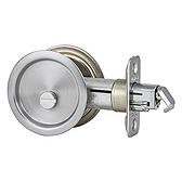 Round Pocket Door Lock  , Satin Chrome 335 26D | Kwikset Door Hardware