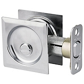 Square Pocket Door Lock  , Satin Chrome 335 26D SQT | Kwikset Door Hardware