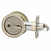 Round Pocket Door Lock  , Antique Brass 335 5 | Kwikset Door Hardware