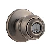 Polo Keyed Entry Door Knobs, Antique Nickel 400P 15A SMT | Kwikset Door Hardware