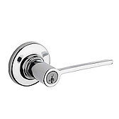 Ladera Keyed Entry Door Levers, Polished Chrome 405LRL 26 SMT | Kwikset Door Hardware