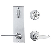 Contemporary Metal Interconnect With Kingston and Ladera Lever Interconnect Light Commercial, Satin Chrome 506KNLXLRL LH 26D SMT | Kwikset Door Hardware