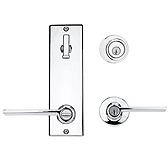 Contemporary Metal Interconnect With Ladera Lever Interconnect Light Commercial, Polished Chrome 506LRLXLRL LH 26 SMT | Kwikset Door Hardware