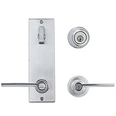 Contemporary Metal Interconnect With Ladera Lever Interconnect Light Commercial, Satin Chrome 506LRLXLRL LH 26D SMT | Kwikset Door Hardware