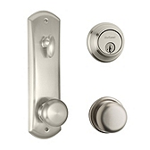 Metal Interconnect With Key Control Deadbolt and Hancock Knob Light Commercial, Satin Nickel 508H SMT KCDB 15 | Kwikset Door Hardware