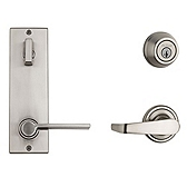 Contemporary Metal Interconnect With Ladera Lever Interconnect Light Commercial, Satin Nickel 506LRLXLRL RH 15 SMT | Kwikset Door Hardware