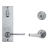 Contemporary Metal Interconnect With Kingston and Ladera Lever Interconnect Light Commercial, Satin Chrome 508KNLXLRL RH 26D SMT | Kwikset Door Hardware