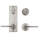 Contemporary Metal Interconnect With Ladera Lever Interconnect Light Commercial, Satin Nickel 508LRLXLRL LH 15 SMT | Kwikset Door Hardware