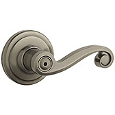 Lido Privacy/Bed/Bath Door Levers, Antique Nickel 730LL 15A | Kwikset Door Hardware