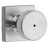 Pismo Privacy/Bed/Bath Door Knobs, Satin Chrome 730PSK SQT 26D | Kwikset Door Hardware