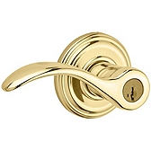 Pembroke Door Levers, Polished Brass 740PML 3 SMT | Kwikset Door Hardware