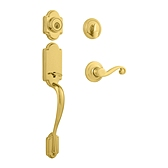 Arlington Single Cylinder Handlesets, Lifetime Polished Brass 800ANXLL L03 SMT | Kwikset Door Hardware