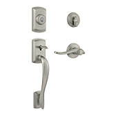 Avalon Single Cylinder Handlesets, Satin Nickel 800AVHXAVL 15 SMT | Kwikset Door Hardware