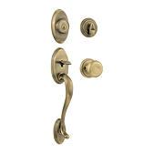 Shelburne Single Cylinder Handlesets, Antique Brass 800SEXJ 5 SMT | Kwikset Door Hardware