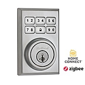 Contemporary SmartCode Deadbolt with Home Connect  , Satin Chrome 910CNT ZB 26D SMT | Kwikset Door Hardware