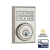 Contemporary SmartCode Deadbolt with Home Connect  , Satin Nickel 910CNT ZW500 15 SMT | Kwikset Door Hardware