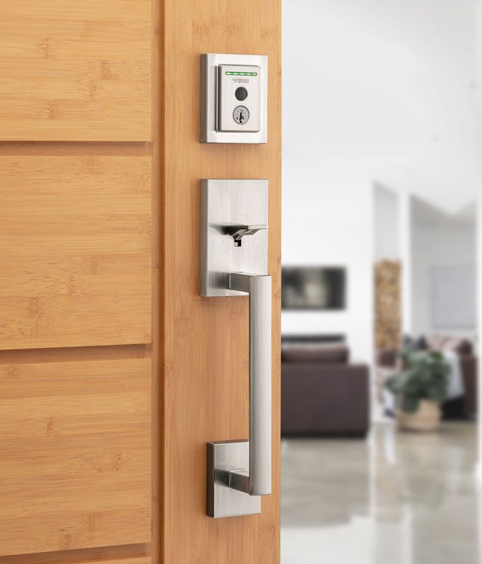Weiser Halo Touch Fingerprint Door Lock with San Clementer Door Handle