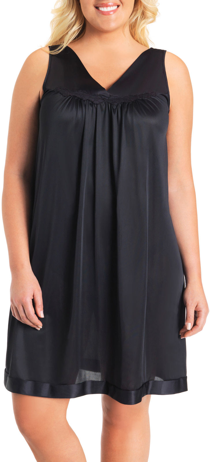 Vanity Fair Coloratura Sleeveless Nightgown - 30107 Midnight Black ...
