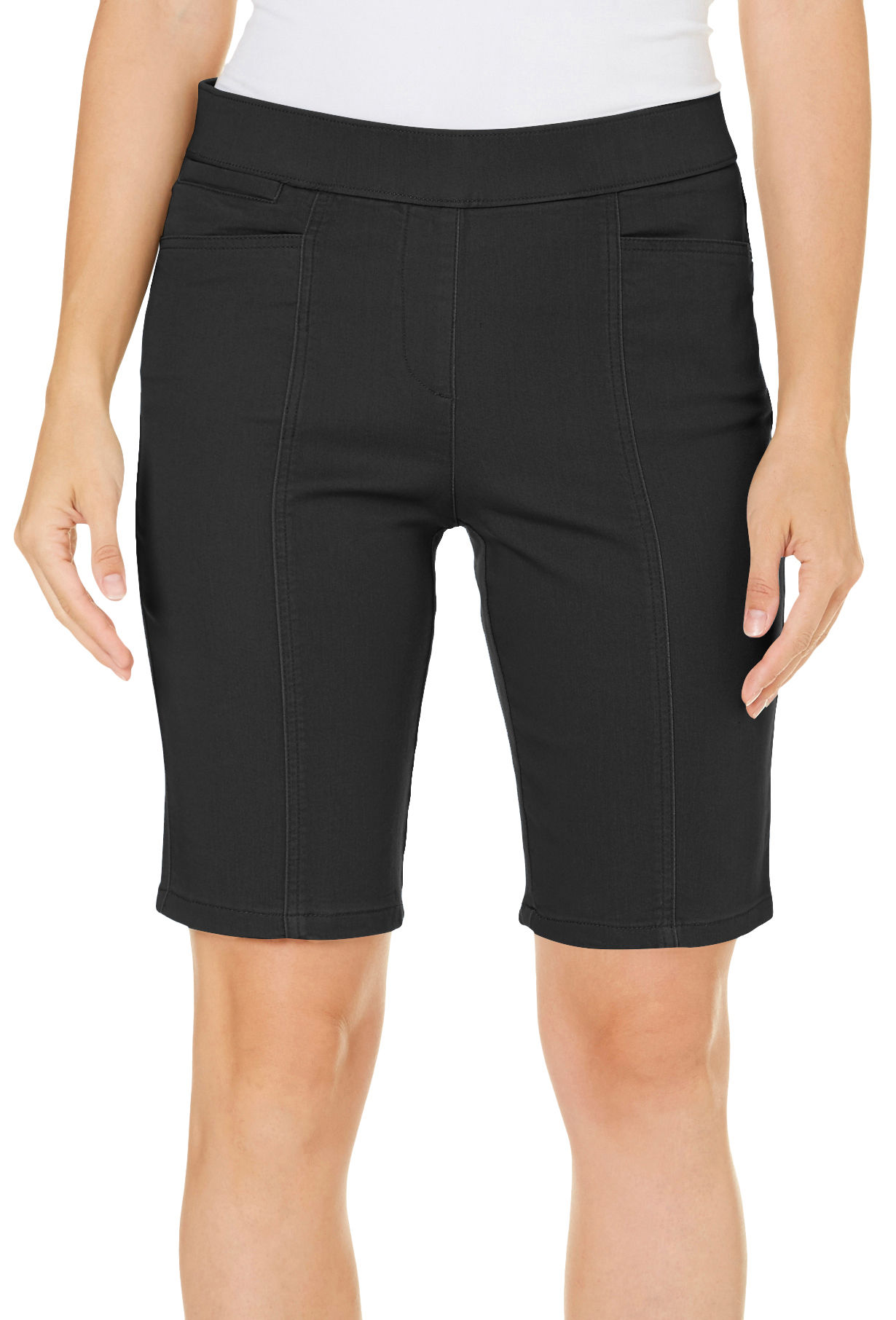 Coral Bay Womens Pull On Stretch Solid Shorts 14 Black Ebay
