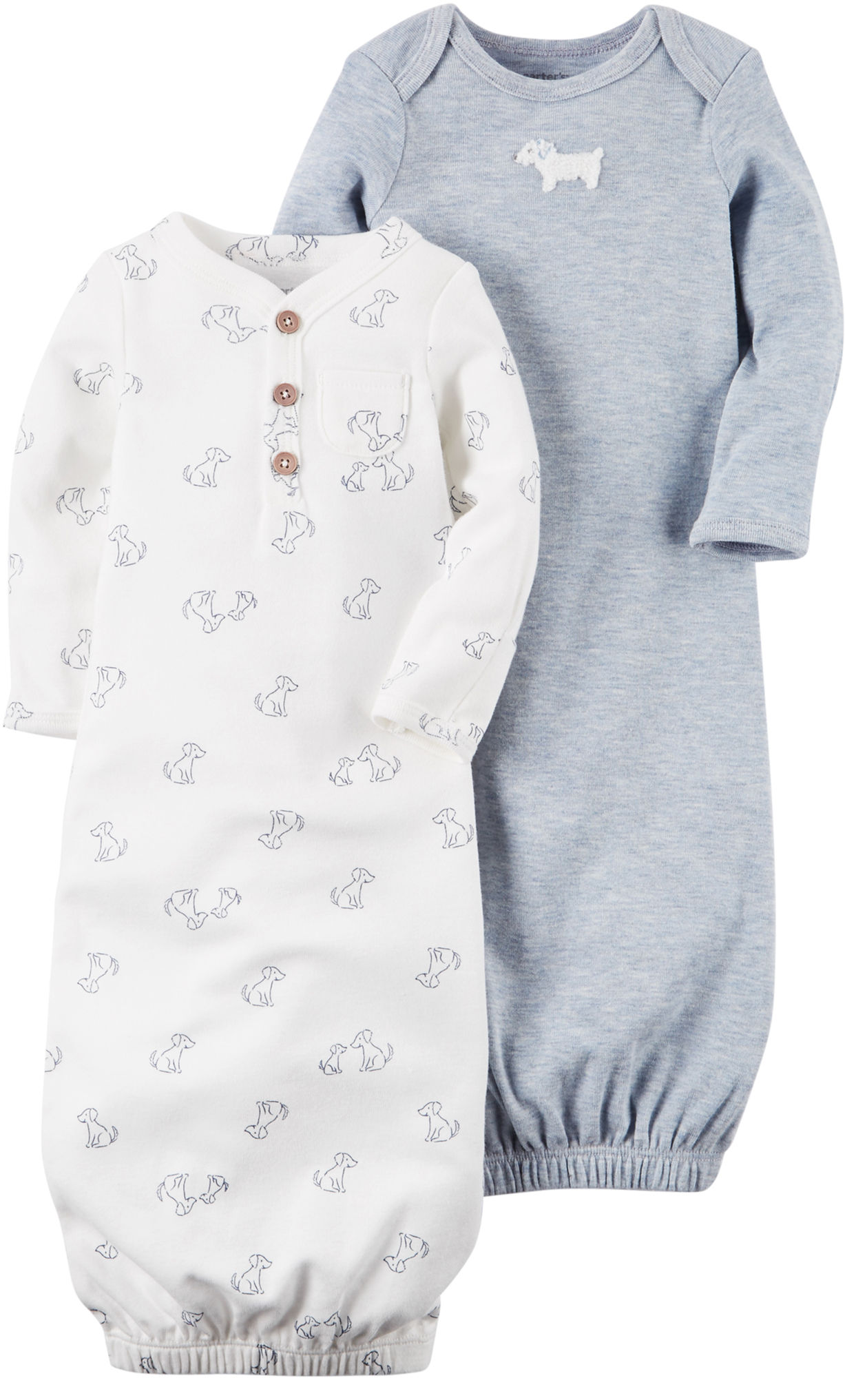Carters Baby Boys 2-pk. Little Fella Puppy Gowns 3 Month Navy blue ...