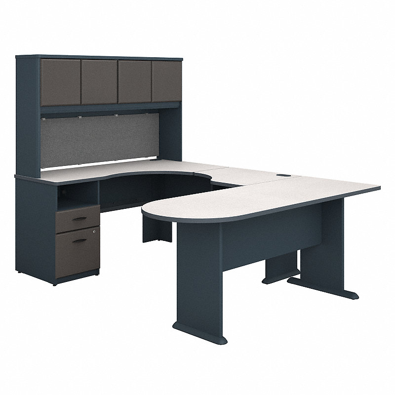bush sra009sl series a u shaped desk with hutch zuma. Black Bedroom Furniture Sets. Home Design Ideas