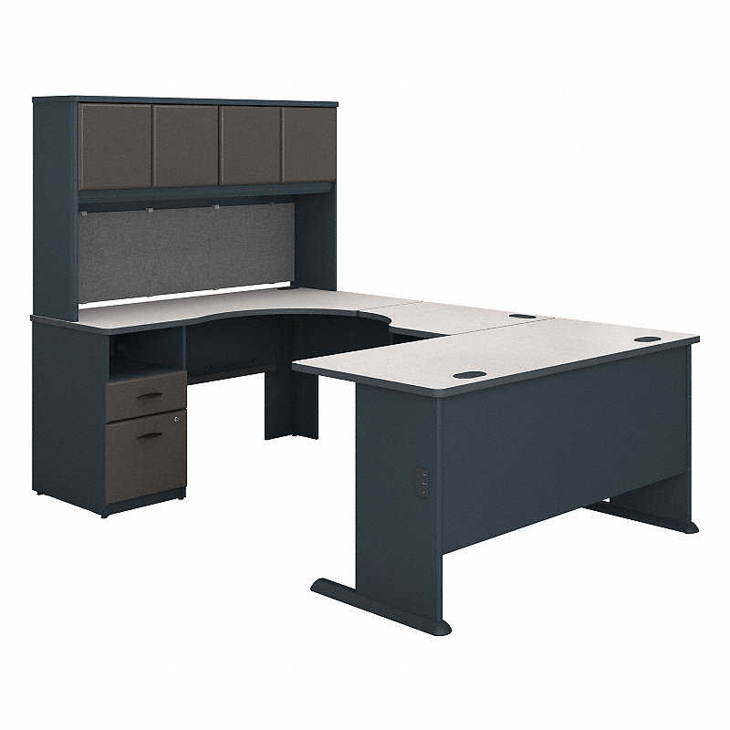 bush sra066sl series a 60w u shaped desk with hutch zuma. Black Bedroom Furniture Sets. Home Design Ideas