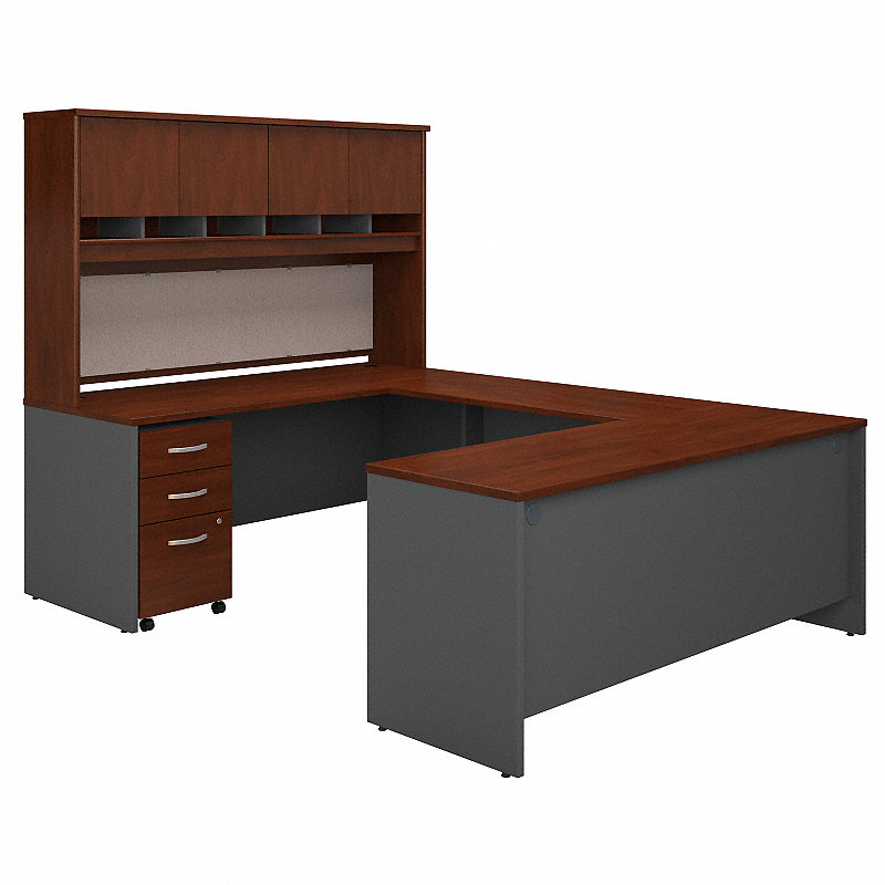 Cool Series C 72W U Shaped Desk With Hutch And Storage Hansen Cherry Graphite Gray Download Free Architecture Designs Scobabritishbridgeorg