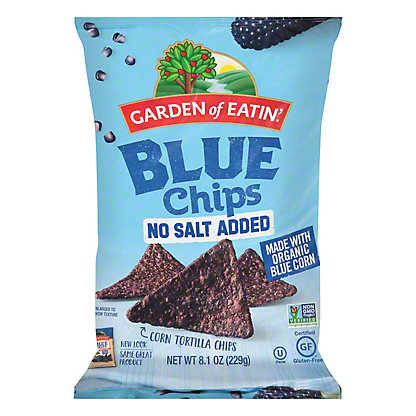 Garden of Eatin Blue Corn Tortilla Chips No Salt Added, 9 oz