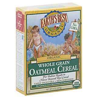 Earth's Best Organic Whole Grain Oatmeal  Cereal, 8 oz