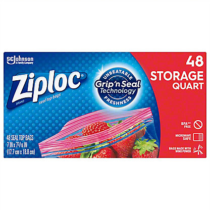 Ziploc Double Zipper Quart Storage Bags Value Pack,48 CT