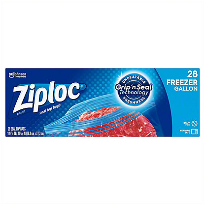 Ziploc Double Zipper Freezer Gallon Bags Value Pack, 28 ct