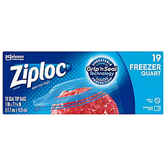 Ziploc Double Zipper Heavy Duty Freezer Quart Bags,20 CT