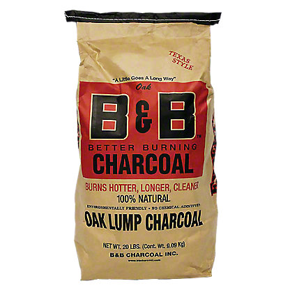 B & B Texas Style Oak Lump Charcoal, 20 LBS