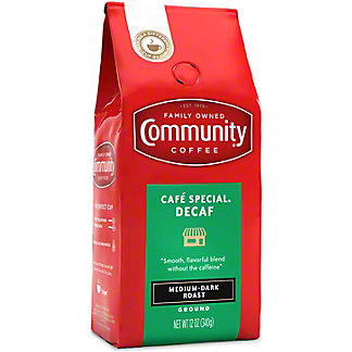 Community Coffee Cafe Special Decaffeinated Medium-Dark Roast Ground Coffee, 12 oz