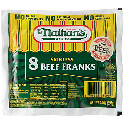 Nathan's Skinless Beef Franks,8 CT