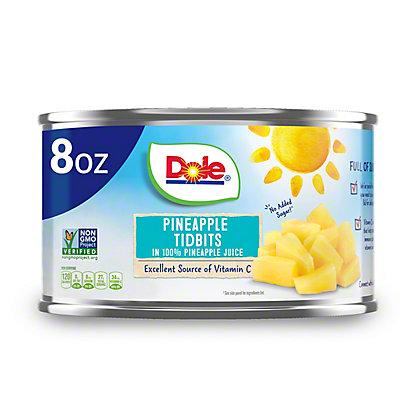 Dole Pineapple Tidbits in 100% Pineapple Juice, 8 oz